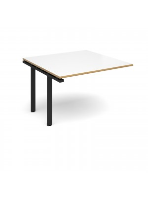Adapt II boardroom table add on unit 1200mm x 1200mm - black frame, white top with oak edging
