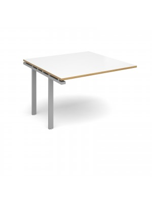 Adapt II boardroom table add on unit 1200mm x 1200mm - silver frame, white top with oak edging