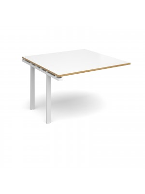 Adapt II boardroom table add on unit 1200mm x 1200mm - white frame, white top with oak edging