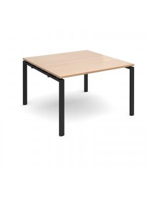 Adapt boardroom table starter unit 1200mm x 1200mm - black frame, beech top