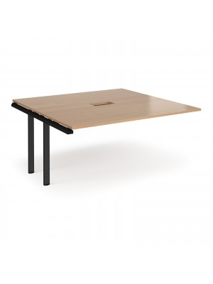 Adapt boardroom table add on unit 1600mm x 1600mm with central cutout 272mm x 132mm - black frame, beech top