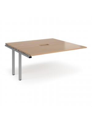 Adapt boardroom table add on unit 1600mm x 1600mm with central cutout 272mm x 132mm - silver frame, beech top