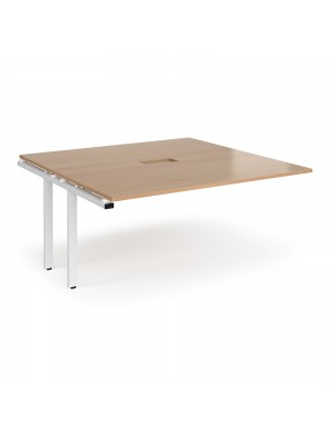 Adapt boardroom table add on unit 1600mm x 1600mm with central cutout 272mm x 132mm - white frame, beech top