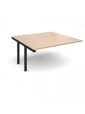 Adapt II boardroom table add on unit 1600mm x 1600mm - black frame, beech top