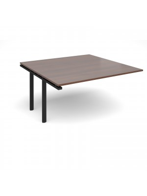 Adapt II boardroom table add on unit 1600mm x 1600mm - black frame, walnut top
