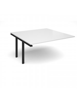 Adapt II boardroom table add on unit 1600mm x 1600mm - black frame, white top