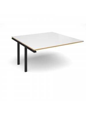 Adapt II boardroom table add on unit 1600mm x 1600mm - black frame, white top with oak edging