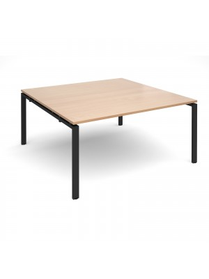 Adapt boardroom table starter unit 1600mm x 1600mm - black frame, beech top