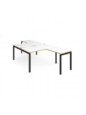 Adapt back to back desks 1400mm x 1600mm with 800mm return desks - black frame, white top with oak edge