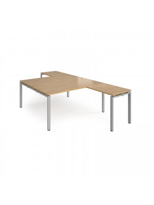 Adapt back to back desks 1600mm x 1600mm with 800mm return desks - silver frame, oak top