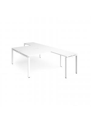 Adapt back to back desks 1600mm x 1600mm with 800mm return desks - white frame, white top