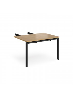 Adapt add on unit double return desk 800mm x 1200mm - black frame, oak top