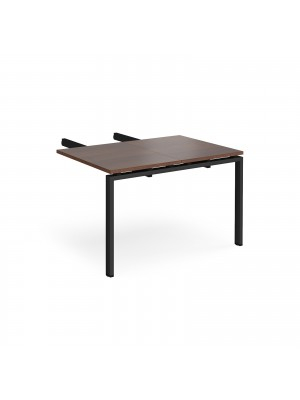 Adapt add on unit double return desk 800mm x 1200mm - black frame, walnut top