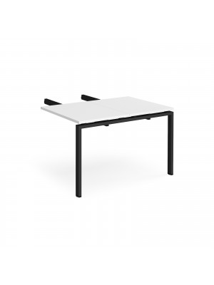Adapt add on unit double return desk 800mm x 1200mm - black frame, white top