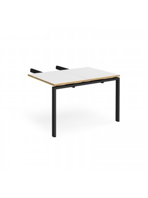 Adapt add on unit double return desk 800mm x 1200mm - black frame, white top with oak edge