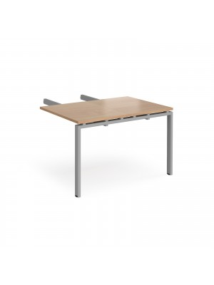 Adapt add on unit double return desk 800mm x 1200mm - silver frame, beech top