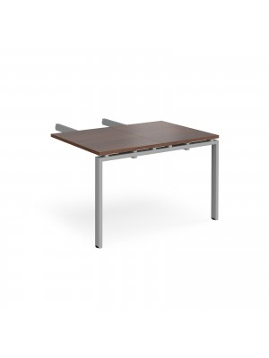 Adapt add on unit double return desk 800mm x 1200mm - silver frame, walnut top