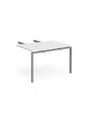 Adapt add on unit double return desk 800mm x 1200mm - silver frame, white top