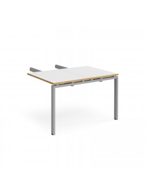 Adapt add on unit double return desk 800mm x 1200mm - silver frame, white top with oak edge