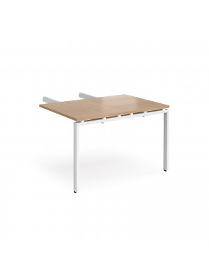 Adapt add on unit double return desk 800mm x 1200mm - white frame, beech top