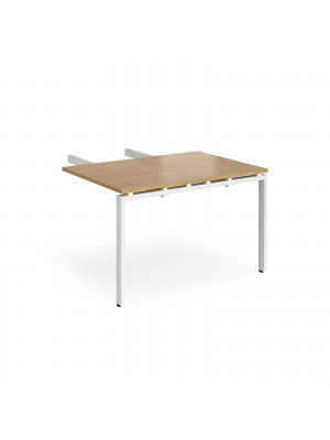 Adapt add on unit double return desk 800mm x 1200mm - white frame, oak top