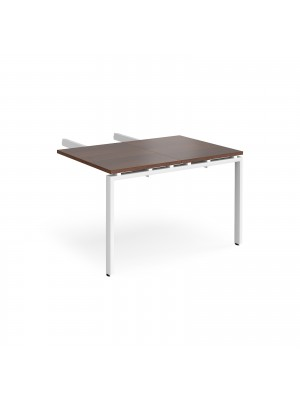 Adapt add on unit double return desk 800mm x 1200mm - white frame, walnut top