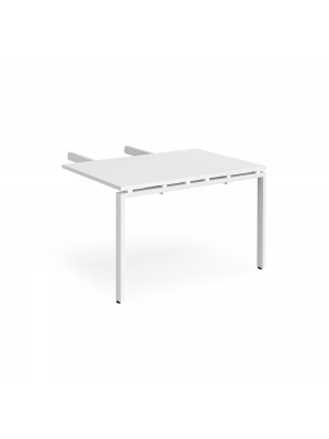 Adapt add on unit double return desk 800mm x 1200mm - white frame, white top