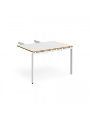 Adapt add on unit double return desk 800mm x 1200mm - white frame, white top with oak edge