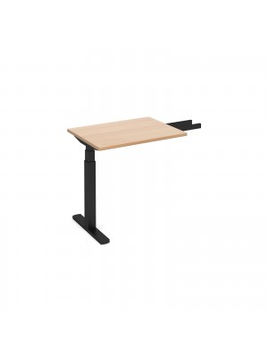 Elev8 Touch sit-stand return desk 600mm x 800mm - black frame, beech top