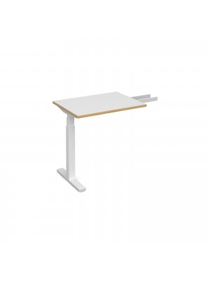 Elev8 Touch sit-stand return desk 600mm x 800mm - white frame, white top with oak edge