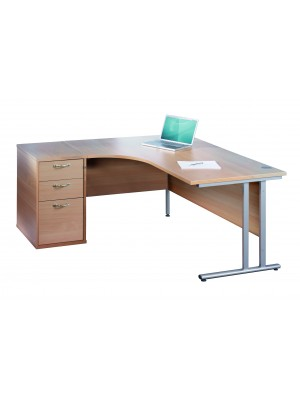 Maestro 25 SL right hand ergonomic desk 1600mm with silver cantilever frame and desk high pedestal - white