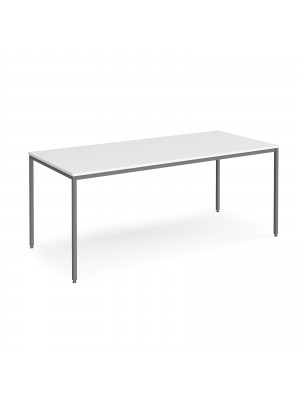 Rectangular flexi table with graphite frame 1800mm x 800mm - white