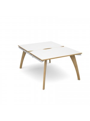 Fuze back to back desks 1200mm x 1600mm - white frame, white top with oak edging