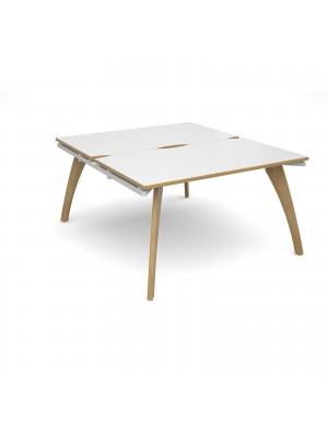Fuze back to back desks 1400mm x 1600mm - white frame, white top with oak edging