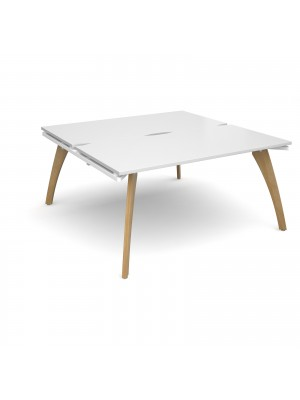 Fuze back to back desks 1600mm x 1600mm - white frame, white top