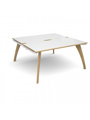 Fuze back to back desks 1600mm x 1600mm - white frame, white top with oak edging