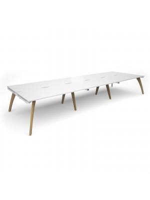 Fuze triple back to back desks 4800mm x 1600mm - white frame, white top