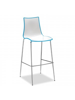 Gecko shell dining stool with chrome legs - blue