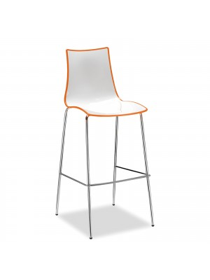 Gecko shell dining stool with chrome legs - orange