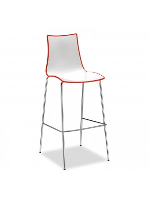 Gecko shell dining stool with chrome legs - red