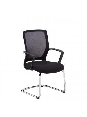 Jonas black mesh back visitors chair with black fabric seat and chrome cantilever frame