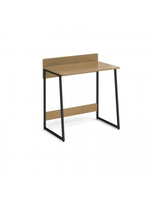 Kyoto home office workstation with upstand - Summer oak with black frame