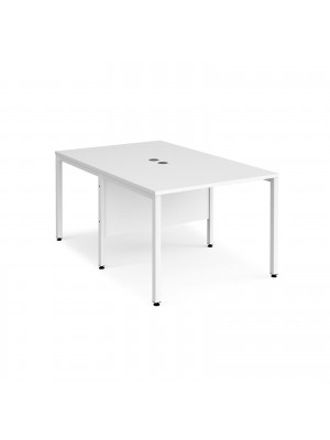 Maestro 25 back to back straight desks 1000mm x 1600mm - white bench leg frame, white top