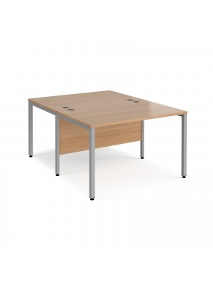 Maestro 25 back to back straight desks 1200mm x 1600mm - silver bench leg frame, beech top