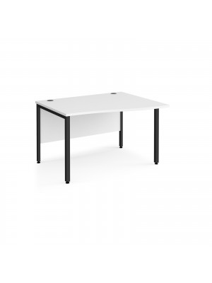 Maestro 25 right hand wave desk 1200mm wide - black bench leg frame, white top