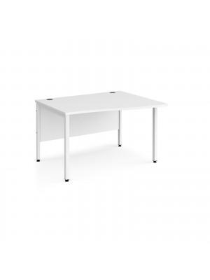 Maestro 25 right hand wave desk 1200mm wide - white bench leg frame, white top