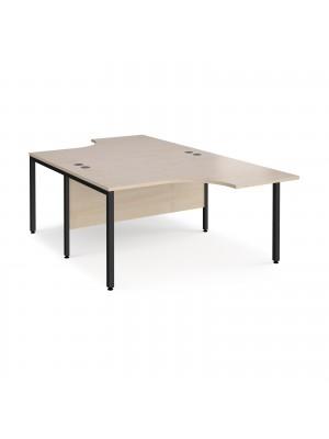 Maestro 25 back to back ergonomic desks 1400mm deep - black bench leg frame, maple top