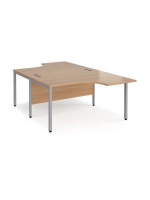 Maestro 25 back to back ergonomic desks 1400mm deep - silver bench leg frame, beech top