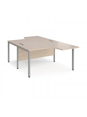 Maestro 25 back to back ergonomic desks 1400mm deep - silver bench leg frame, maple top