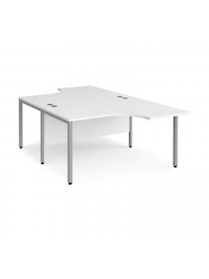 Maestro 25 back to back ergonomic desks 1400mm deep - silver bench leg frame, white top
